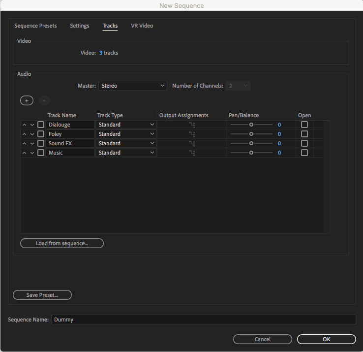 adobe premiere new sequence pane mac