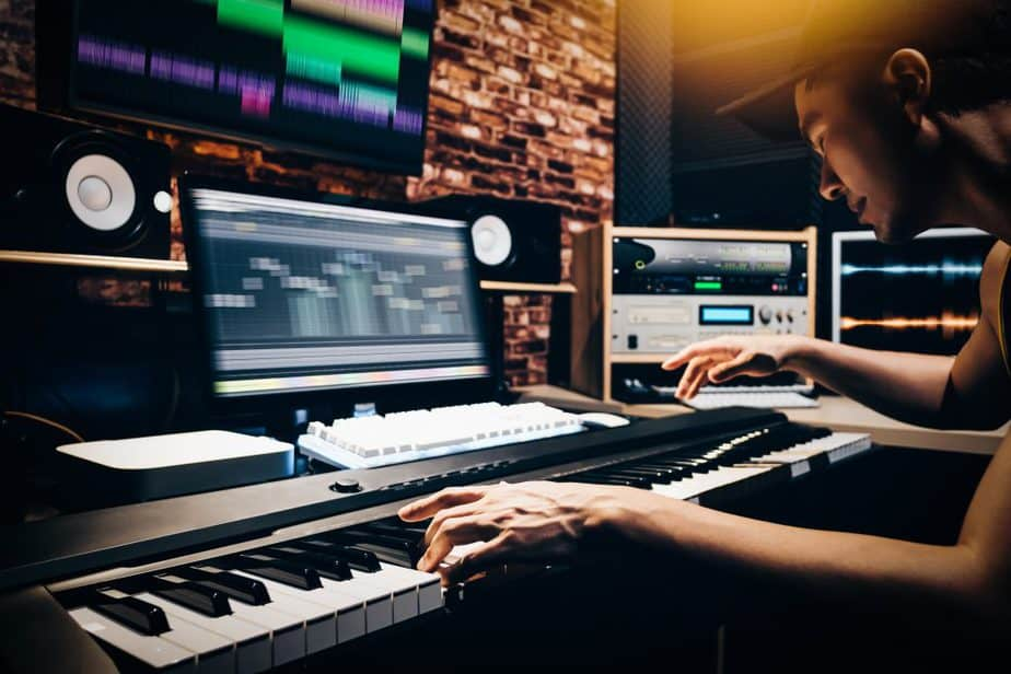 music composer working at audiostation